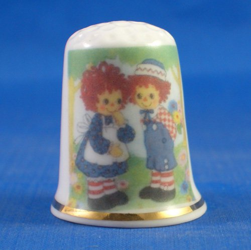 Porcelain China Collectable Thimble - Raggedy Ann & Andy meet -- Free Gift Box