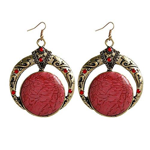 angel3292 Clearance Deals Vintage Bohemian Carving Round Drop Dangle Hook Earrings Women Eardrops Jewelry ()