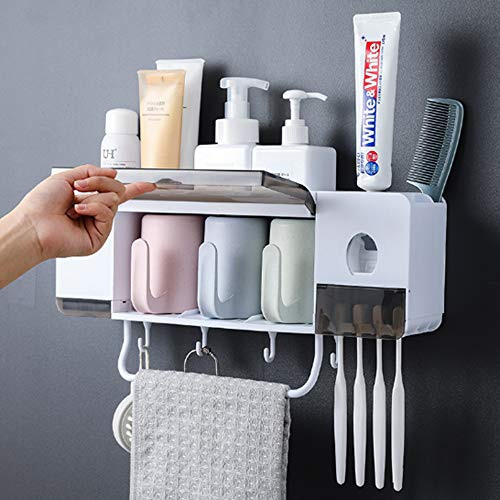 ProttyLife Automatic Toothpaste Dispenser Squeezer Wall Mount Toothbrush Holder,Space-Saving Toothbrush Holder for Bathroom with 3 Cups, 4 Brush Slots and Towel Bar No Drill Need