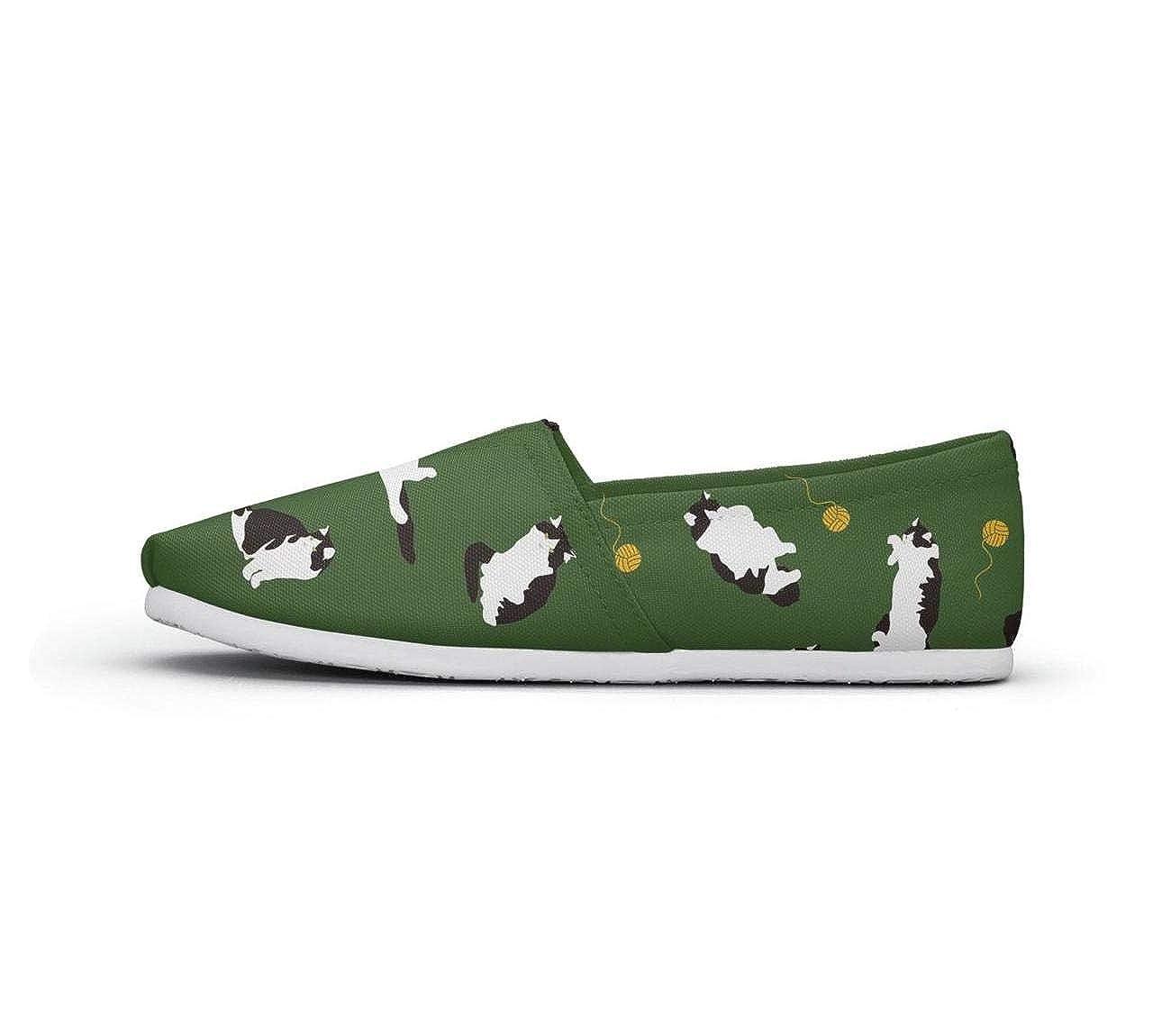 nkfbx Black cat Casual Slip-On Canva Shoes for Girls Walking