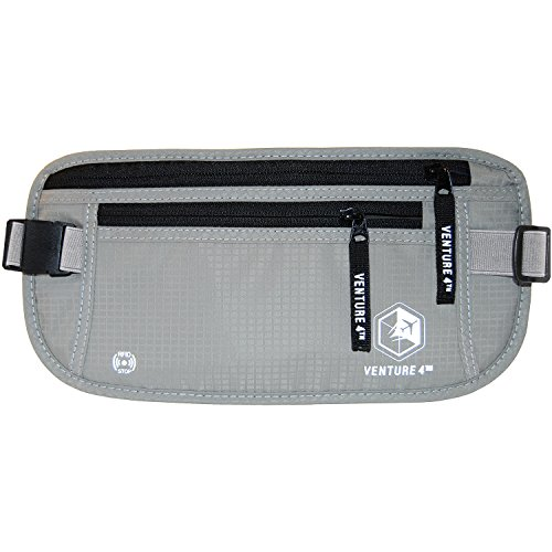 Venture 4th Travel Money Belt RFID Blocking Hidden Waist Stash (Silver)