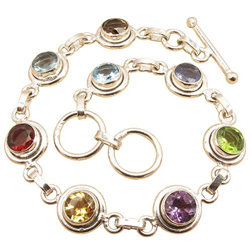 "Multi Gemstone Multicolored Bracelet 8 "" ! 925 Sterling Silver Plated UNISEX Online Jewelry Store"