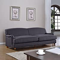 Mid Century Grey Modern Sophisticated Large Linen Fabric Sofa with Casters (Dark Grey)