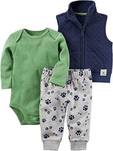 - Carter's Baby Boys' 3 Piece Paw Print Little Vest Set, Blue/Green, 3 Months