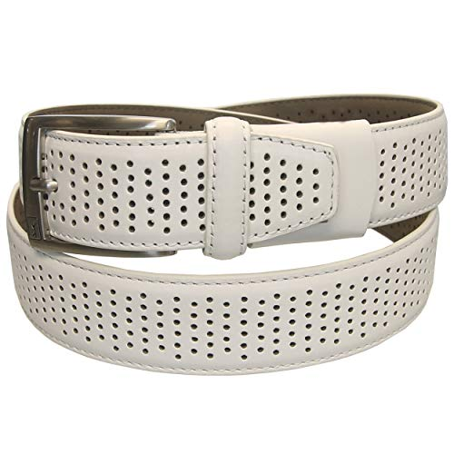 PGA Tour Perforated Leather Golf Belt - White