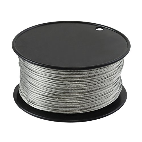 Houseables Wire, Vinyl Coated, 500 Feet, 1/16 Inch, Braided Stainless Steel Cable, Plastic Covered, Heavy Duty, Stranded Rope for String Lights, Artificial Flower, Wreath Making, Trellis, Clothesline by Houseables
