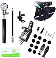 Bike Tire Repair Tool Kit with Mini Gauge Hand Pump, Including 210PSI Bicycle Air Pump Fit Schrader Presta, 16