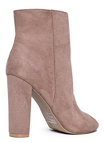 Taupe Savoy Toe High Sleek Essential Suede by Ankle Zip Shoe Classic Bootie � Adams Up � Heel � Boot Peep Heel J Chunky 8Eq1w0H