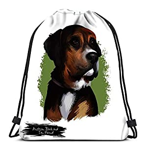 Drawstring Backpack Bags Sports Cinch Austrian Black And Tan Hound Dog Breed Digital Art White String Backpack Bulk Storage Bags For School Gym 3