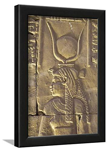 ArtEdge Relief Depicting The Goddess Hathor, Temple of Horus, Edfu, Egypt, North, Africa by Richard Maschmeyer, Wall Art Framed Print, 12x8, Black ()