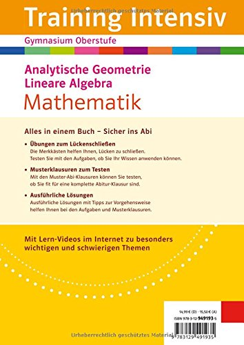 Klett Training Intensiv Mathematik: Analytische Geometrie