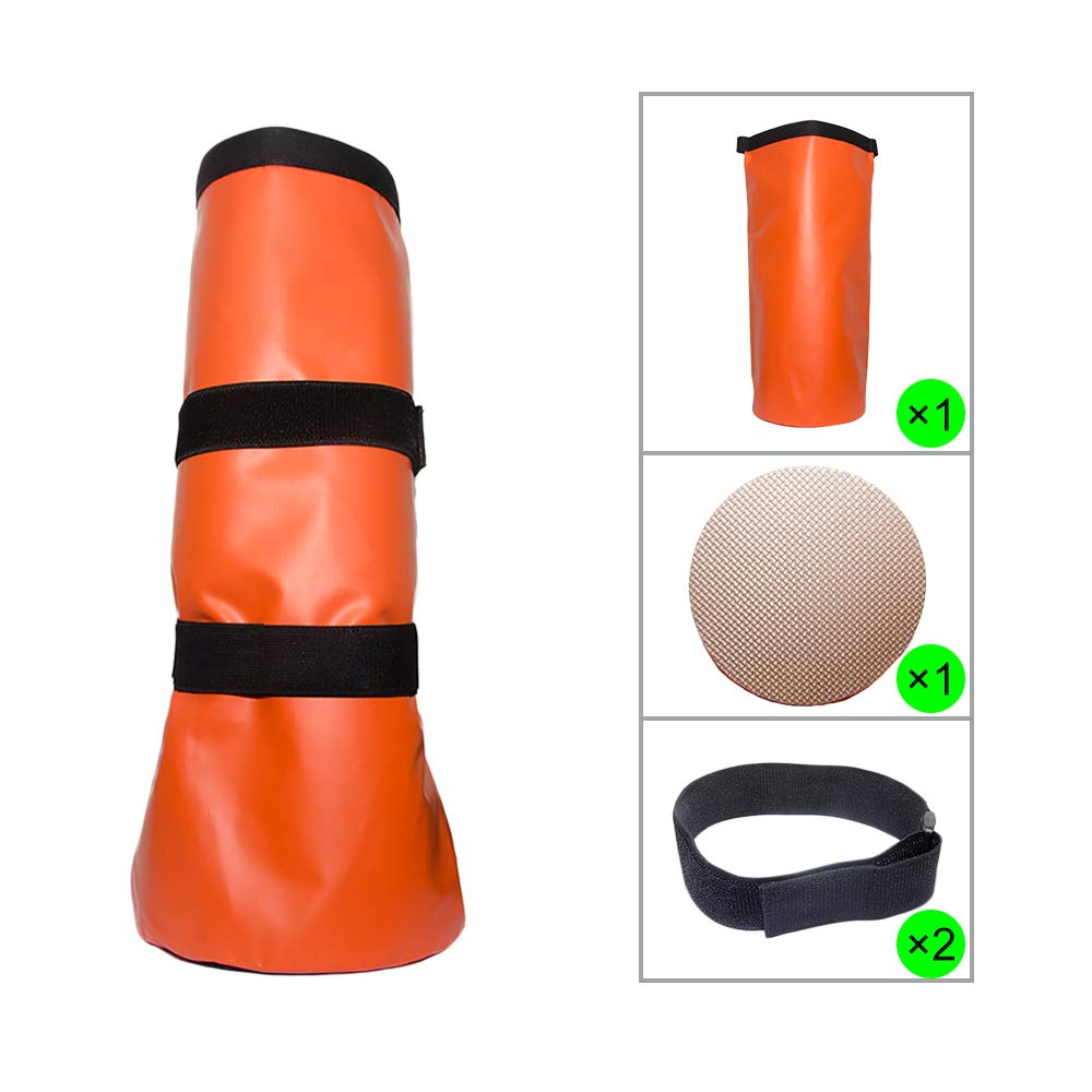 Less Side Horse Hoof Soaking Bag Poultice Boot Equine Hoof Soaker Hoof Soak Bag for Hot or Cold Soaking Hooves Comes with EVA Pad and Self-Stick Straps (Orange) by Less Side