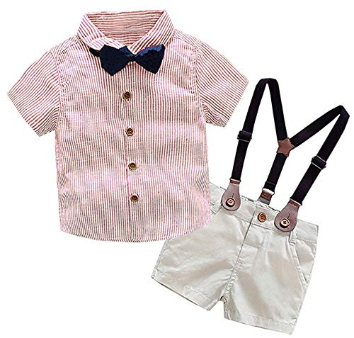 - Baby Boys Summer Clothes, Short Sleeves Button Down Plaid Shirt with Bowtie + Suspender Shorts Set Summer Tuxedo Dress Outfit, 1# Red, Tag 120 = 3-4 Years