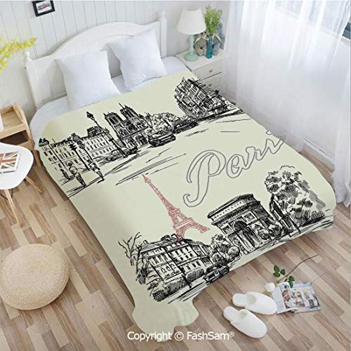 PUTIEN Flannel Fleece Blanket with 3D Arch of Triumph Restaurant Monument Old Fashioned Paris Street Sketch Style Art Sofa Blanket for Bedroom(59Wx78L)