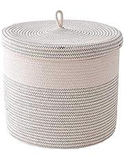 Kolaty Cotton Rope Woven Laundry Basket with Lid Kids Plush Toys Storage Organizer Dirty Clothes Basket Sundries Storage Barrel