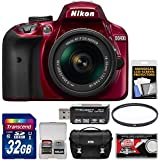 Nikon D3400 Digital SLR Camera & 18-55mm VR DX AF-P Zoom Lens (Red) 32GB Card + Case + Kit (Certified Refurbished)