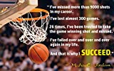 And That's Why I Succed Michael Jordan Quote Wall Poster Print|Classroom School Office Dorm Bedroom|12 X 18 In Poster|KCP6