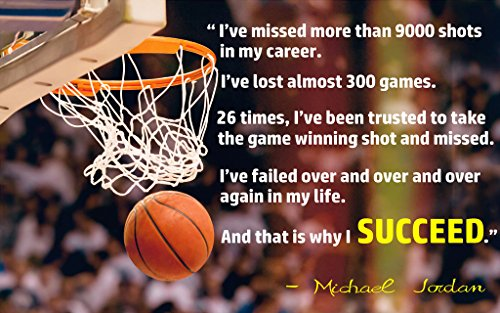 And That's Why I Succed Michael Jordan Quote Wall Poster Print|Classroom School Office Dorm Bedroom|12 X 18 In - Images Running With Quotes