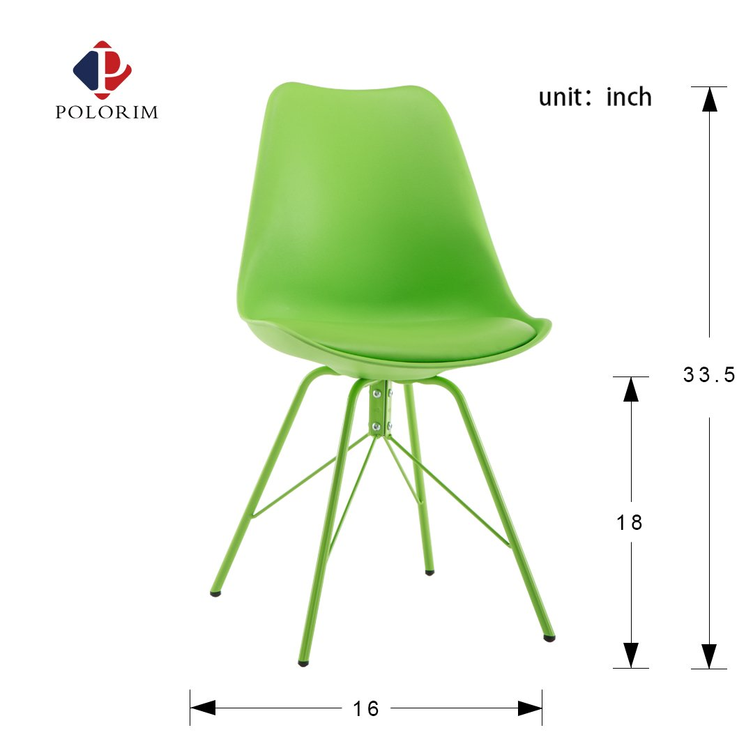 Polorim Dining Chair Side Metal Assembled Legs Set of 4 Fit for Any Kind of Home Style Green Chair