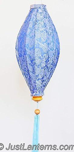 Vietnamese Oval Silk Lantern- Light Blue