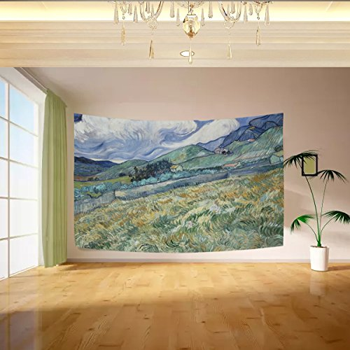 Vipsk Vincent Van Gogh Art Tapestry Wall Hanging Artistic Light-weight Polyester Fabric Cottage Dorm Wall Art Home Decoration (Glitter Wall Hanging)