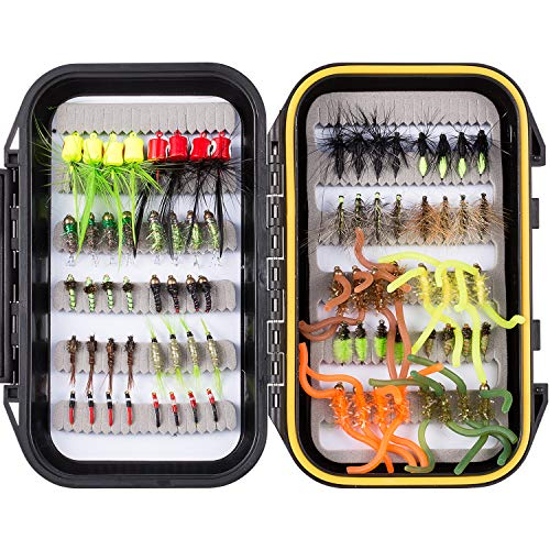 Bassdash Fly Fishing Flies Kit Fly Assortment with Fly Box, 36/64/72/80/96pcs with Dry/Wet Flies, Nymphs, Streamers, etc. (80 pcs Assorted Flies kit with Waterproof Fly Box) (Best Bluegill Fly Patterns)