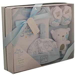 Kris X Kids - Set de regalo para niño o niña, diseño de bodysuit, libros, sombrero y álbum de fotos azul azul claro