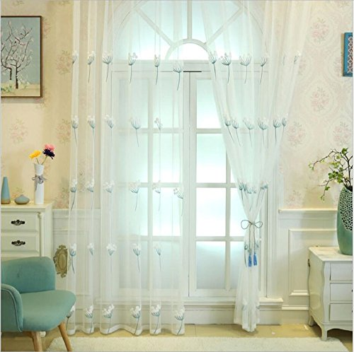 TIYANA Off White Sheer Curtain Panels for Living Room Rod Pocket Top Floral Embroidered Sheer Drapes Embroidery Window Treatment for Bedroom, 1 Panel, Ddandelion, W118 x L98 inch