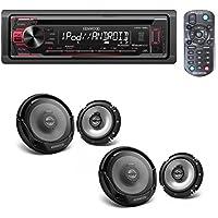 Kenwood In-Dash 1-DIN CD Car Stereo Receiver with Front USB Input W/ 4) Kenwood 6.5 Inch 600 Watt 2-Way Car Audio Door Coaxial Speakers