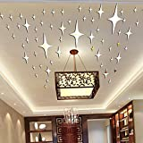 Alrens_DIY(TM)8.5cm*50pcs Bling-bling Stars DIY Acrylic Removable Decorative Mirror Surface Crystal Wall Stickers 3D Home Decal Room Murals Wall Paper Decor Gift Picture