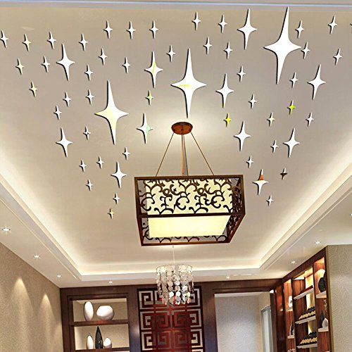 alrens_diytm85cm50pcs bling bling stars diy acrylic removable decorative mirror surface crystal wall stickers 3d home decal room murals wall paper decor - Mirror Decor