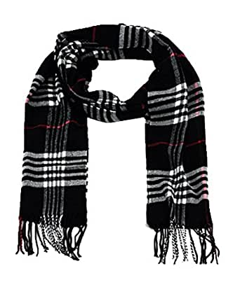 SethRoberts-Classic Cashmere Feel Men's Winter Scarf in Rich Plaids (BLACK)