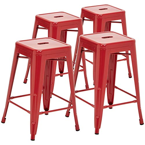 Pioneer Square Haley 24-Inch Backless Square-Seated Counter-Height Metal Stool, Set of 4, Candy Red