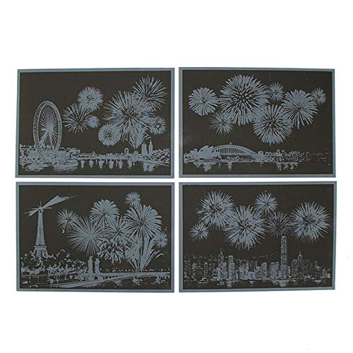 Colorful Scratch Paper Night View Fireworks DIY Drawing Scraping Paintings -