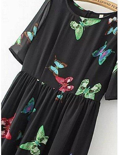 PU&PU Robe Aux femmes Gaine Street Chic,Imprimé Col Arrondi Midi Polyester , black-l , black-l