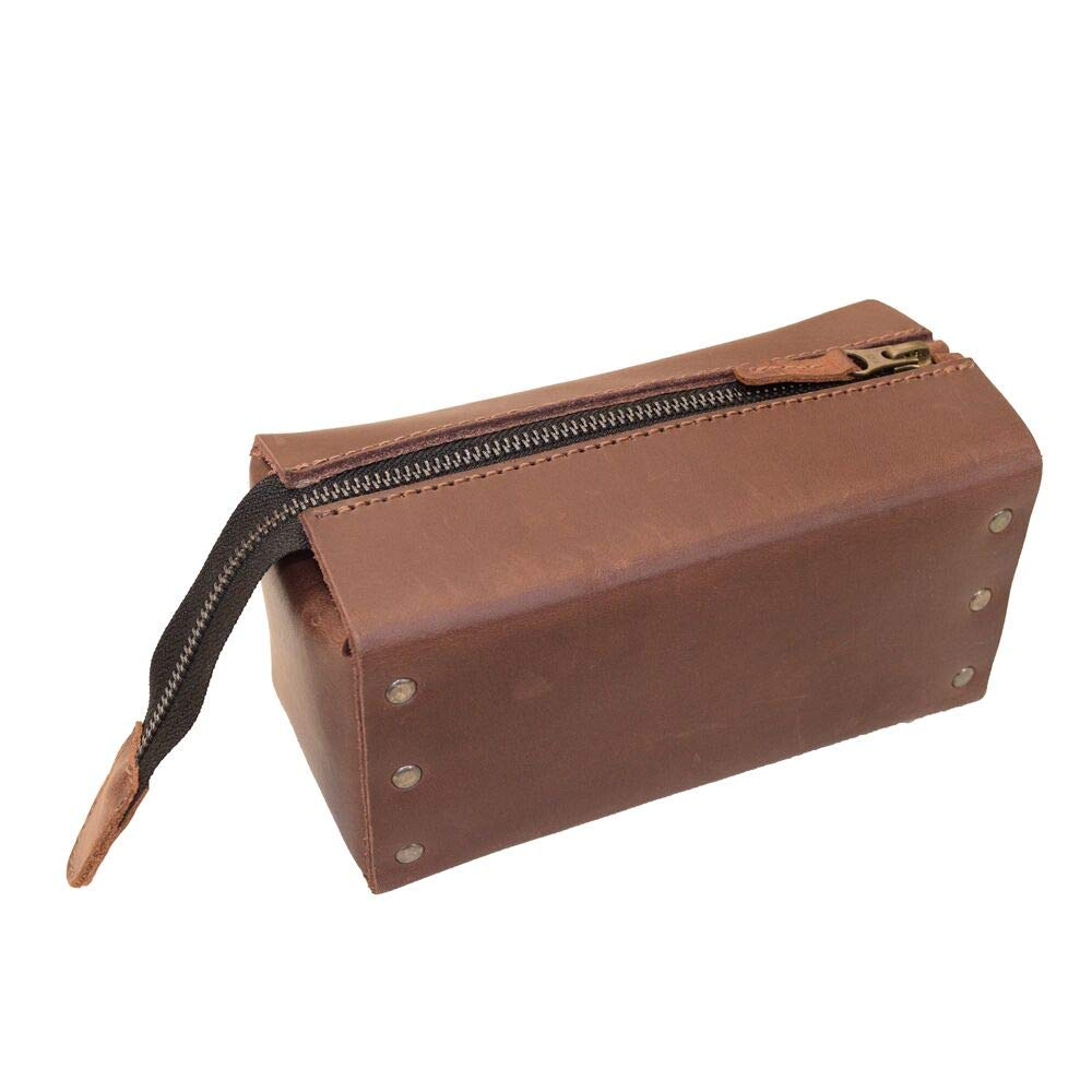 Hide & Drink, Leather Riveted Multipurpose Case/Toiletry Bag/Organizer/Travel Dopp/Home & Office Accessories, Handmade Includes 101 Year Warranty :: Bourbon Brown