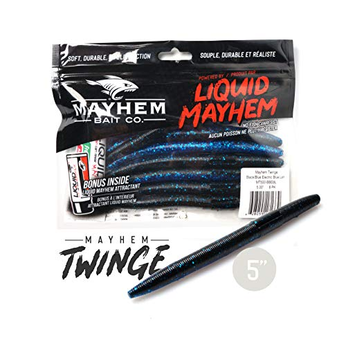 Mayhem Twinge Soft Plastic Fishing Lure 3 Pack Provides Ideal Sink Rate, Feel & Life Like Action.