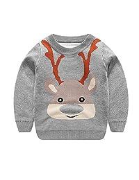 Motteecity Boys Clothes Adorable Cartoon Holiday Xmas Woolen Warm Pullover Sweater