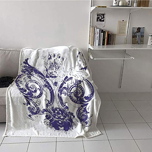 Khaki home Children's Blanket Travel Digital Printing Blanket (30 by 50 Inch,Fleur De Lis,Digital Grunge Lily Emperor Flag Victorian Kingdom Imperial Theme Print,Purple White
