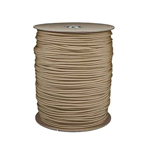 SGT KNOTS Paracord 550 Type III 7 Strand - 100% Nylon Core and Shell 550 lb Tensile Strength Utility Parachute Cord for Crafting, Tie-Downs, Camping, Handle Wraps (Tan 380-10 - Handle Shell