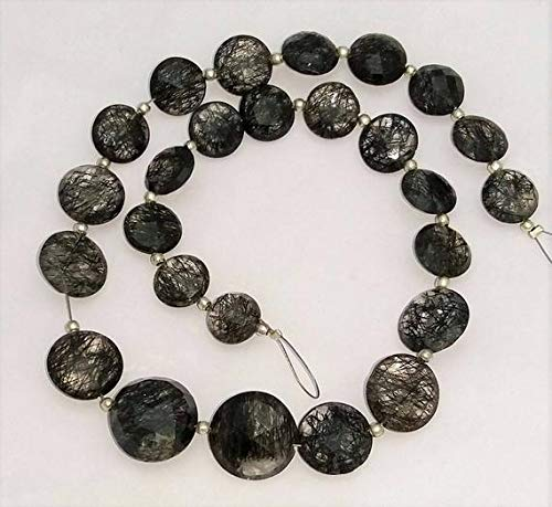 GemAbyss Beads Gemstone Natural Black RUTILATED Quartz Both Side Faceted Coin Shaped Beads,Good Quality, 9 mm - 14 mm, 9 Inch Long Strand Approx[E1311]drilled Coin Beads Code-MVG-33246 ()