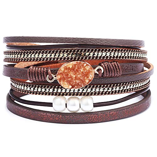 Womens Leather Boho Wrap Saachi Stacking Bracelets-Cuff Wrap Boho Braided Multilayer Wide Wristbands Wrist Magnetic Clasp Buckle Casual Feather Bangle Bracelets for Teen Girls,Women,Boy ()