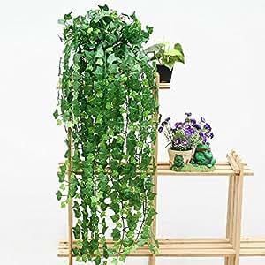 2.4M Verde Guirnalda Hiedra Artificial Hoja Follaje Falsa Plástico Seda decoración pared Boda Patio Hogar fiesta Ivy Leaf