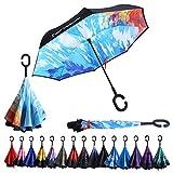 DOB Double Layer Inverted Umbrella Windproof UV Protection Reverse Folding Umbrella with C-Shaped Handle (Graffiti)