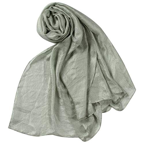 WAMSOFT Fashion Shawl Wrap for Women, Solid Color Silky Prom Wedding Evening Dress Cover Large Lightweight Beach Accent Neckscarf Headscarf Mask Scarf Dusty Green