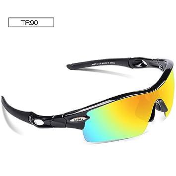 dc4063b0de EWIN E12 Gafas de Sol de Deporte Polarizadas, 4 Lentes Intercambiables,  TR90 Marco Irrompible, Antiniebla, Lentes Impermeables Gafas (Negra y  Negra): ...