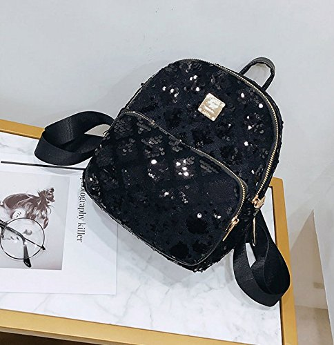 Black Satchel Liliam Party Daypack Shiny Sequin Bag Women Shoulder Mini Travel Backpack Totes 7qwZA7