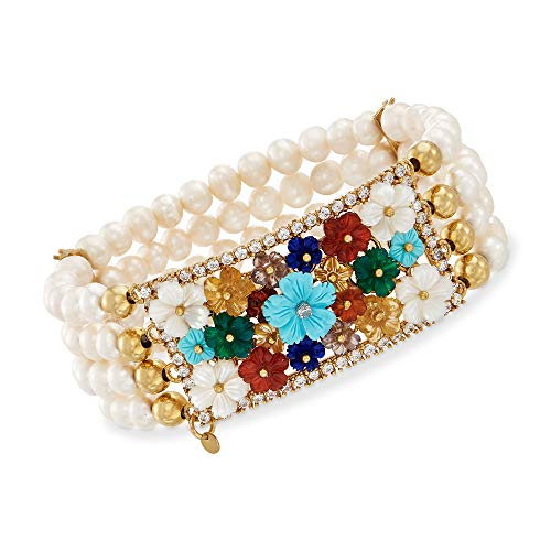 Ross-Simons 5.5-6mm Cultured Pearl, Mother-Of-Pearl and Multi-Gem Floral Stretch Bracelet in 18kt Gold Over Sterling