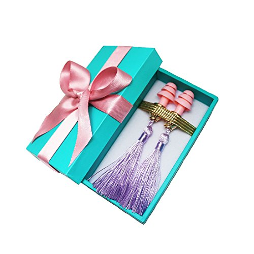 Gift Boxed Earplugs - Audrey Hepburn Breakfast at Tiffanys, Purple Tassel, Handmade