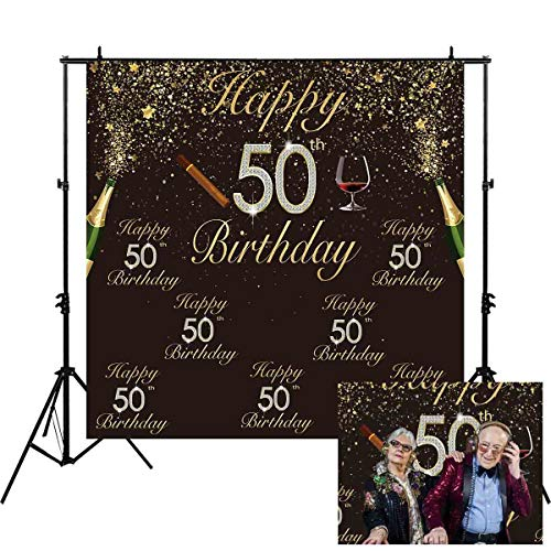 Allenjoy 6x6ft Glitter Gold and Black Happy 50th